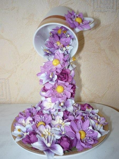 Своими руками чашки с цветами