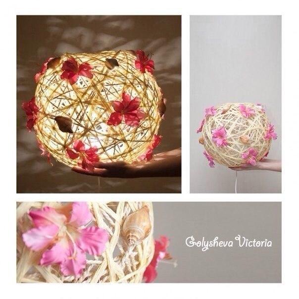 Креативный светильник. Вам понадобится: надувной шарик нитки клубок шерсти жгут шпагат или веревка ...