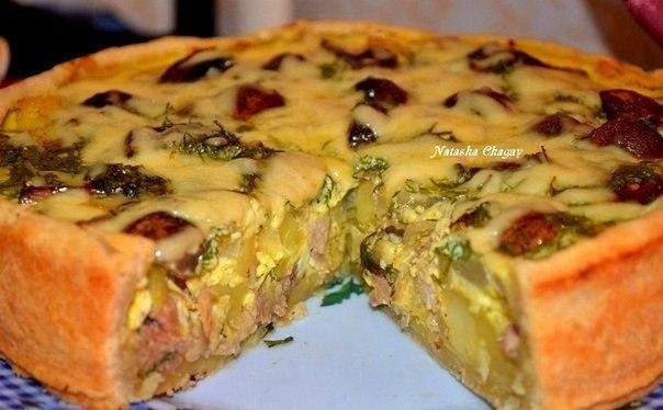 Открытый пирог с курицей и картошкой.Тесто:мука 250 грмасло слив холодное 90 гряйцо 1 штсметана 1 ст ...