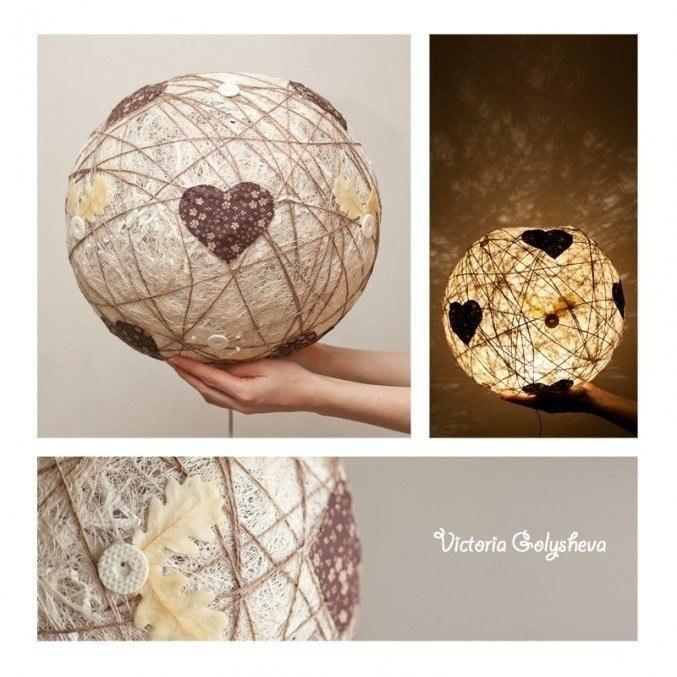 Креативный светильник. Вам понадобится: надувной шарик нитки клубок шерсти жгут шпагат или веревка ... - 5