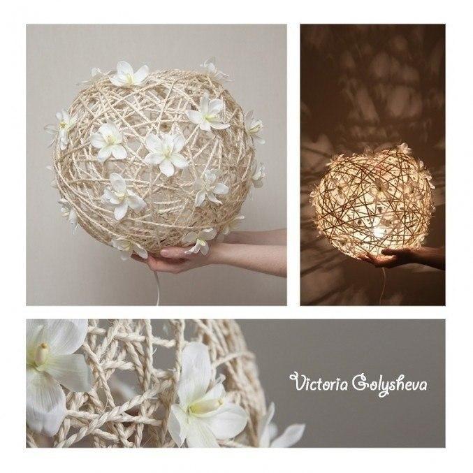 Креативный светильник. Вам понадобится: надувной шарик нитки клубок шерсти жгут шпагат или веревка ... - 4