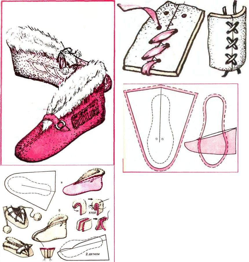Как сшить тапочки из меха своими руками