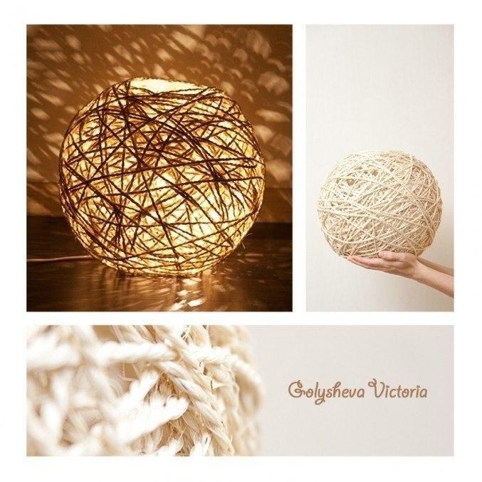 Креативный светильник. Вам понадобится: надувной шарик нитки клубок шерсти жгут шпагат или веревка ... - 3