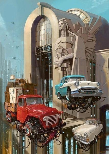 Идеальное сочетание ретро автомобили и технологии будущего в работах художника-иллюстратора ... - 6