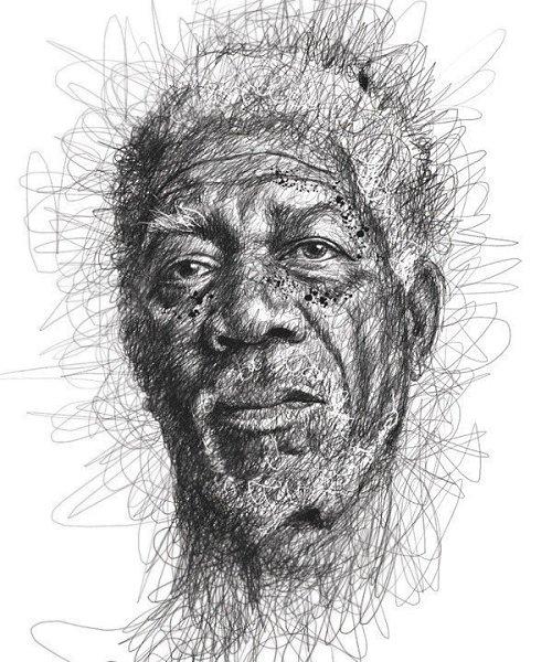 Портреты художника Винса Лоу, который создает свои работы не отрывая руки от листа бумаги