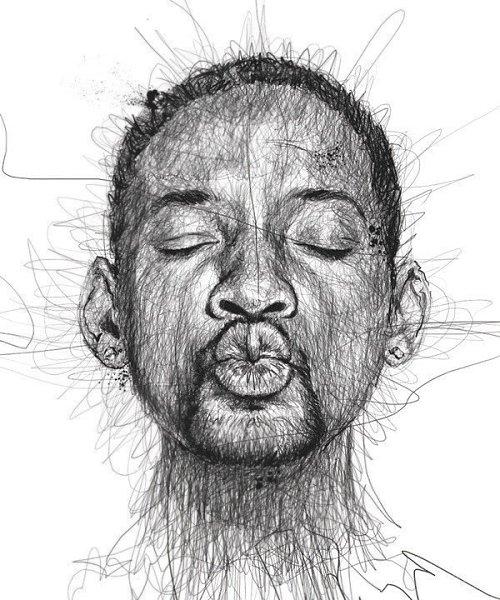 Портреты художника Винса Лоу, который создает свои работы не отрывая руки от листа бумаги - 5