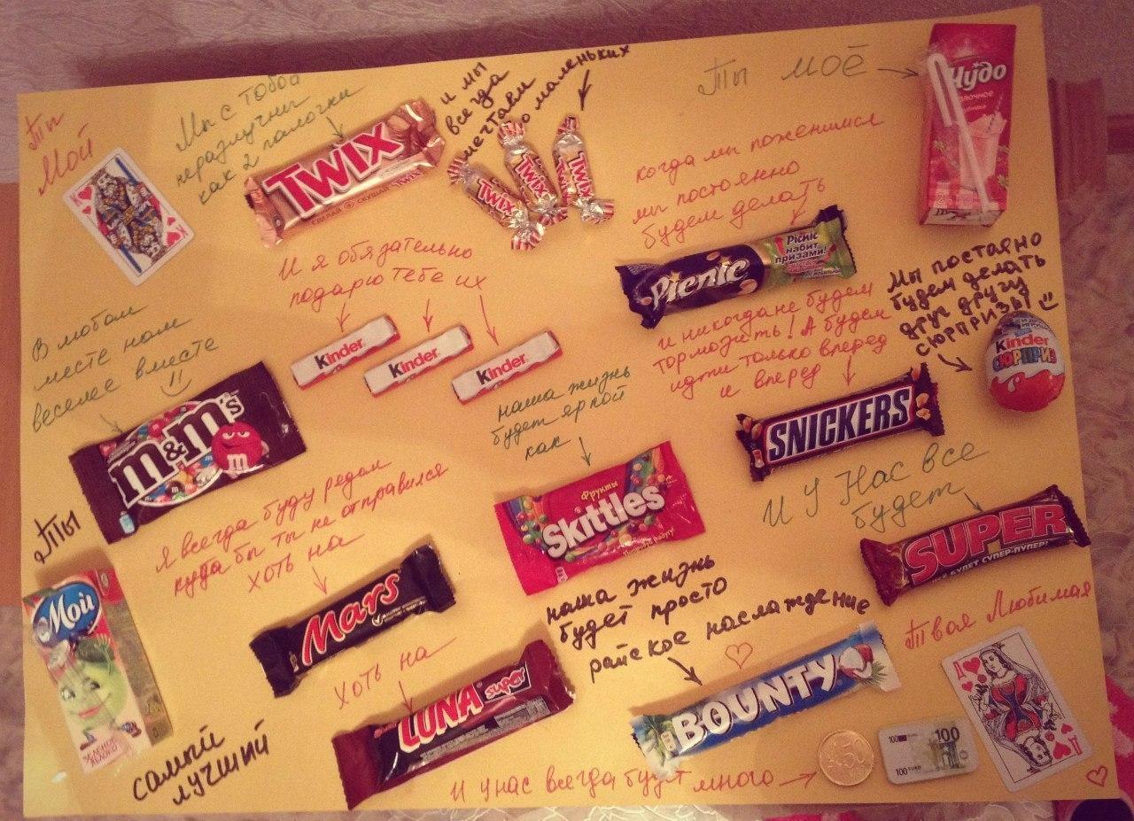 Открытки с конфетами и пожеланиями своими руками