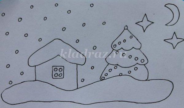 Трафарет для лепки из пластилина картинки зима