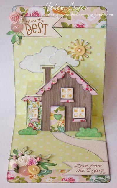 Скрап открытки домики, надписью подружка