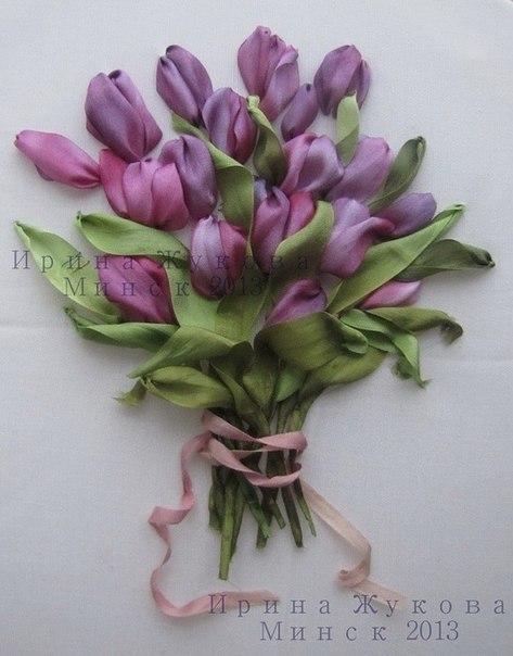 Тюльпаны. Вышивка лентами.