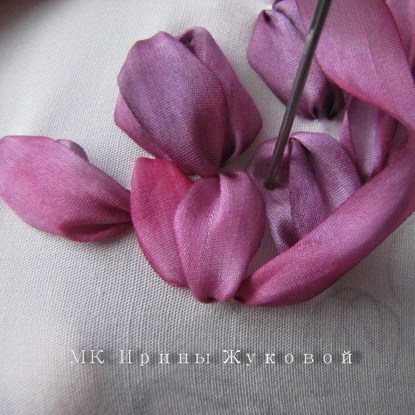 Тюльпаны. Вышивка лентами. - 6