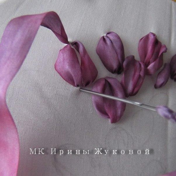 Тюльпаны. Вышивка лентами. - 4