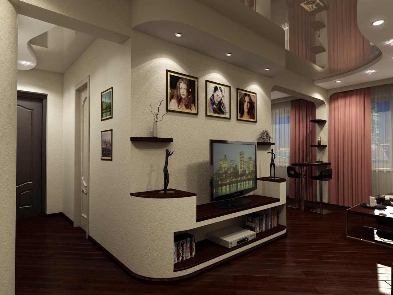 знаменитая дизайн совмещенной прихожей гостиной и кухни фото отличие