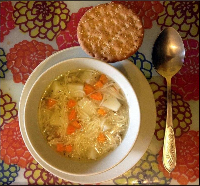Предлагаю рецепт быстрого супа. Ингредиенты: суп, тарелка, ложка. Хлеб по желанию Приготовление: ...